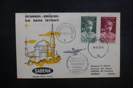 TURQUIE - Enveloppe 1er Vol Istanbul / Bruxelles En 1957 - L 37846 - Lettres & Documents