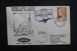 GRECE - Enveloppe 1er Vol Athènes / Istanbul En 1957 - L 37847 - Grèce
