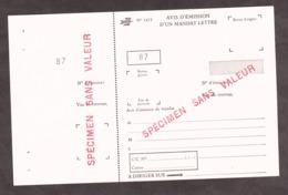 Avis D'émission D'un Mandat Lettre - SPECIMEN - Instructional Courses