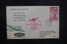 TCHÉCOSLOVAQUIE - Enveloppe 1er Vol Prague / Athènes / Le Caire En 1957 - L 37848 - Cartas