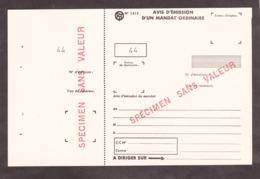 Avis D'émission D'un Mandat Ordinaire - SPECIMEN - Lehrkurse