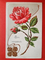 1907 - RELIEF - GAUFREE - ROZEN EN KLAVERTJE 4 - ROSES ET TREFLE - ART NOUVEAU - Flowers