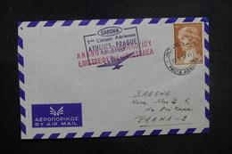 GRECE - Enveloppe 1er Vol Athènes / Prague En 1957 - L 37850 - Grèce