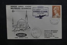 GRECE - Enveloppe 1er Vol Athènes / Istanbul En 1957 - L 37851 - Grèce