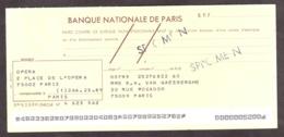 SPECIMEN - Chèque Banque Nationale De Paris - Opéra - Peu Courant - Chèques & Chèques De Voyage