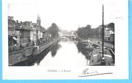Tournai-(Hainaut)-1904-L'Escaut Près Du Pont De Fer Et Du Quai Notre-Dame-Péniches-Péniche-Attelages- Animée - Tournai