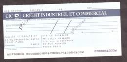 SPECIMEN - Chèque Crédit Industriel Et Commercial - Peu Courant - Chèques & Chèques De Voyage