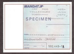 SPECIMEN - Mandat - CRF MOG Villecours 1987 - Cours D'Instruction