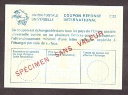 SPECIMEN - Coupon-Réponse International - C22 - Cours D'instruction - Instructional Courses