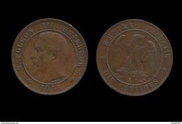 SECOND EMPIRE . NAPOLEON III , TÊTE NUE . 10 Centimes 1856 A . (PARIS ) . - Francia