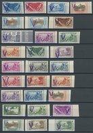 FRANZÖSISCH-OZEANIEN **, Ca. 1920-40, 41 Verschiedene Werte Vichy-Ausgaben Mit Violettem Aufdruck V Und/oder FRANCE LIBR - Ohne Zuordnung