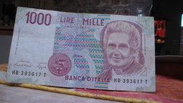 1000 Lire -1990- Montessori Numéro  HB 393617 T - 1 000 Lire