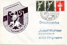 """(FC-3) BRD Cachetumschlag Bundesmarine """"MARINEARSENAL - TAUCHBETRIEB WHV"""" MiF BRD  SSt 22.8.1976 WILHELMSHAVEN - BRD"""