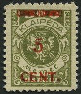 MEMELGEBIET 174II **, 1923, 5 C. Auf 300 M. Oliv, Type II, Postfrisch, Pracht - Memelgebiet