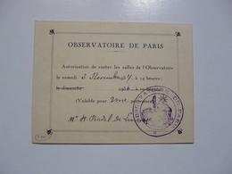 VIEUX PAPIERS - AUTORISATION : Observatoire De Paris - Tickets D'entrée
