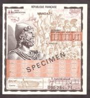SPECIMEN - Mandat - Colonies - Cours D'instruction - Cours D'Instruction