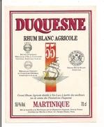 Etiquette Rhum Blanc Agricole - Duquesne - 55% - 70cl. - MARTINIQUE - Médailles Or 78 - 83 - 86 - - Rhum