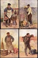 5 X CPA Illustrateur Gerstenhauer - Petits Metiers - Charcutier -  Bucheron - Maçon - Ramoneur --- Professions Série 45 - Artisanat