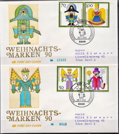 Germany Set On 2 Used FDCs From 1990 - Christmas