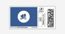 "Montimbrenligne SPECIMEN Agrandi Lettre Verte 20 Gr ""E.T. Vole Dans La Sacoche Du Vélo"" Bike - Cinema"