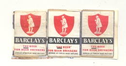 "Façade De Boîte D'allumettes "" BARCLAY'S "" The Beer For Beer Drinkers   , 3 Pièces , Bière, Brasserie.Etiquette. (rmt) - Boites D'allumettes - Etiquettes"