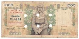 Greece WW2 Emergency Issue Without Stamp (Athens) 1000 Drachmai - Grecia
