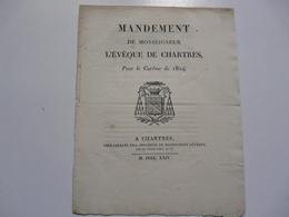 VIEUX PAPIERS - MANUSCRIT : Mandement De Monseigneur L'Evêque De Chartres - Manuscripten