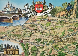 Vallée De La Dordogne Carte Géographique Illustration Paysan Et Cochon Chercheur De Truffes - France