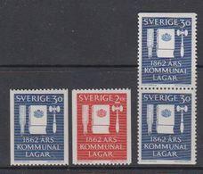 Sweden 1962 Municipal Laws 4v ** Mnh (44073D) - Ongebruikt