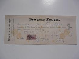 VIEUX PAPIERS - BON POUR FRS 100 - Chalet Refuge - Wechsel