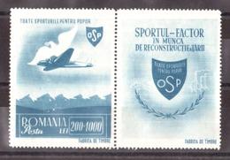 Roumanie - 1945 - N° 848 (avec Vignette) - Neuf * - Aviation - Unused Stamps