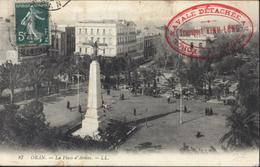 YT 137 CAD Oran 1908 CP Oran Place D'armes Cachet Force Navale Détachée Au Maroc Transport Vinh Long Navire Hôpital - Posta Marittima