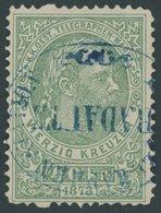 TELEGRAFENMARKEN T 5A O, 1873, 40 Kr. Grün, Gezähnt L 101/2, Mit Blauem Stempel!, Pracht, Mi. (250.-) - Telegraphenmarken