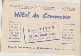 Pont-aux-Moines  45  Carte De L'Hotel Du Commerce Route De Giens Et Montargis (Claude VIVET - France