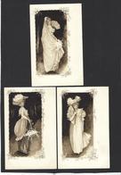 CPA Série De 3 Cartes Femme Girl Woman Art Nouveau Non Circulé Dos Non Séparé - Mujeres