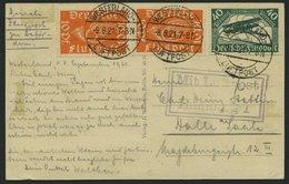 LUFTPOSTBESTÄTIGUNGSSTPL 51-01b BRIEF, HAMBURG 1, R3 In Violett, Ansichtskarte Von WESTERLAND Nach Halle Saale, Pracht - Luftpost