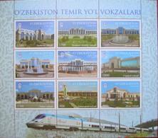Uzbekistan  2018  Railway  Stations. Train. Locomotive  M/Sheet   MNH - Uzbekistan