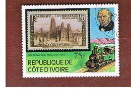 COSTA D'AVORIO (IVORY COAST) - SG 595  -   1979 SIR R. HILL (STEAM LOCOMOTIVE) -  USED ° - Costa D'Avorio (1960-...)