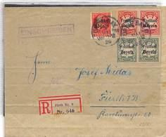 1920.- LETTRE RECOMMANDÉE DE FÜRTH AVEC TIMBRES YV Nº 153, 155 ET 156 - Bavaria