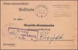 Belgische Zensur 15 Auf Heeressache Regierung DÜSSELDORF 23.6.1919 Nach Rheydt - Stamps