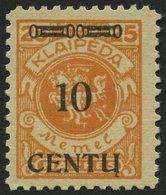 MEMELGEBIET 169BI **, 1923, 10 C. Auf 25 M. Lebhaftrötlichorange, Type BI, Postfrisch, Pracht, Gepr. Dr. Klein - Memelgebiet