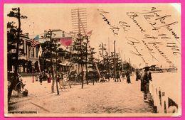 Japan - Japon - Bund Yokohama - Animée - Via L'Amérique Oblit. YOKOHAMA 1906 - Colorisée - Yokohama