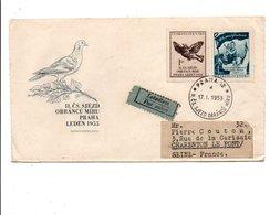 TCHECOSLOVAQUIE LETTRE RECOMMANDEE POUR LA FRANCE 1953 - Tchécoslovaquie