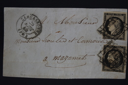 France Front Of Cover  2 Yv Nr 3 Grille + CAD Carcasonne Et 1 X Double Grill - Marcophilie (Lettres)