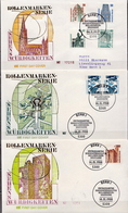 Germany Famous Buildings Stamps On 21 Mint And Used FDCs, Complete From 1987 To 1992 - Architecture