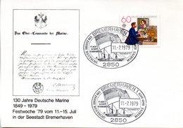 """(FC-3) BRD Sonder-Karte """"130 Jahre Deutsche Marine 1849-1979"""" EF BRD Mi 1012 SSt 11.7.1979 BREMERHAVEN 1 - BRD"""