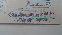 D166537 Canada - 1954 INSUFFICIENTLY PREPAID FEE - Air Mail Service  On Postcard - Port Dû (Taxe)