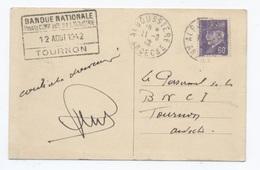 1942  ALBOUSSIERE 1942  TOURNON BANQUE NATIONNALE   -RECTO/VERSO - B64 - Marcophilie (Lettres)