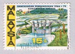 Malaysia 41 Used Dam And Rice Field (BP23619) - Malaysia (1964-...)