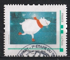 Timbre Personnalisé : Dessin D'un Ourson Blanc Faisant Du Patinage Sur Glace - France